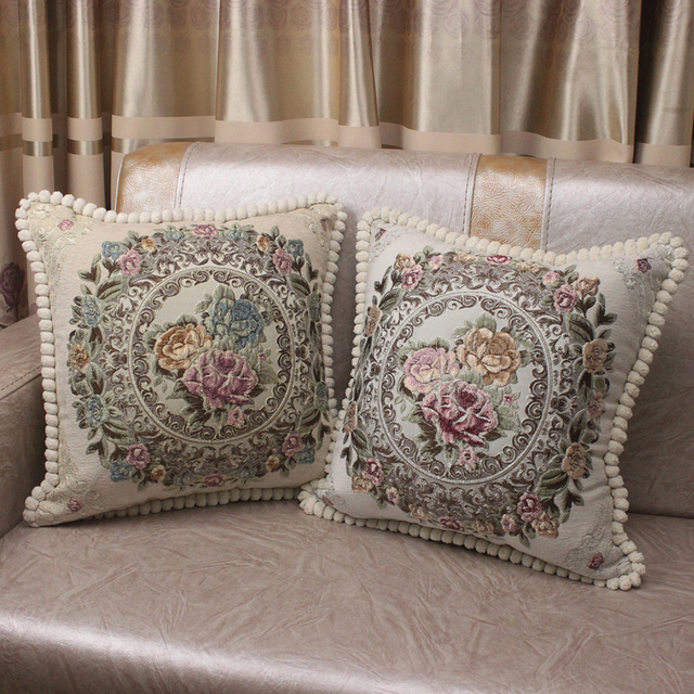 CURCYA Luxury Chenille Jacquard Elegant Cushion Covers for Sofa Home Decorative Pillow Case Cover European Floral Christmas Gift