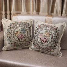 CURCYA Luxury Chenille Jacquard Elegant Cushionครอบคลุมสำหรับโซฟาหน้าแรกตกแต่งปลอกหมอนยุโรปดอกไม้คริสต์มาสของขวัญ
