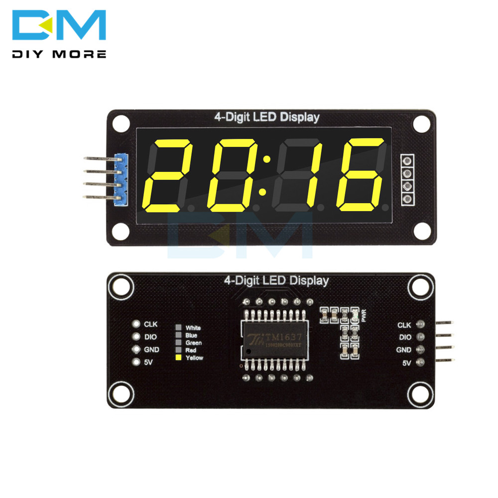 4-Digit 4-Digit LED 0.56 Inch Yellow Digital LED Display TM1637 Tube Decimal 7 Segments Clock Double Dots Module For Arduino