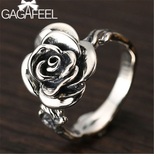 94827c22e9c8da GAGAFEEL Vintage Rose Rings 925 Sterling Silver Jewelry for Women Fashion  Office Lady Charms Female's Party Gifts Dropshipping