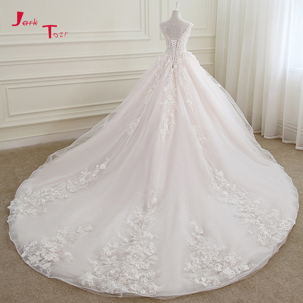 Jark Tozr Open Back Lace Up Robe De Mariee Chapel Train Pearls Pearls Appliques Flowers Princess
