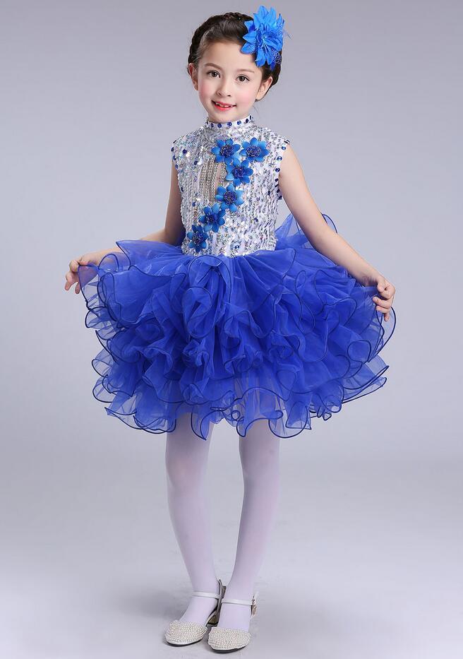 Нарядное платье принцессы для танцев для девочек; Детские бальные платья в стиле джаз и хип-хоп; бальная праздничная одежда; Одежда для девочек с блестками на Хэллоуин и Рождество - Цвет: Королевский синий