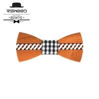 Rewood Presentes de Ano Novo Moda Xadrez Gravata borboleta Decoração Do Casamento madeira Arco Laços Para Homens Gravata Borboleta Gravata Com Impresso tamborilar