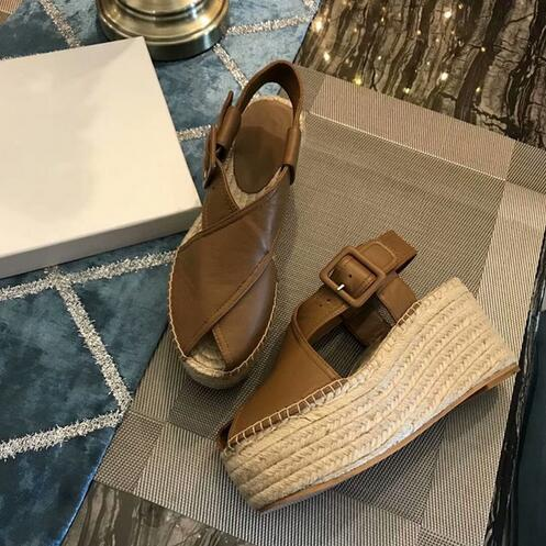 Sandalias Mujer 2018 Brown Leather Rope Braided Platform Sandals Peep Toe Cut-out Buckle Straps Wedges Shoes For Women ледянка 1toy cut the rope cut the rope