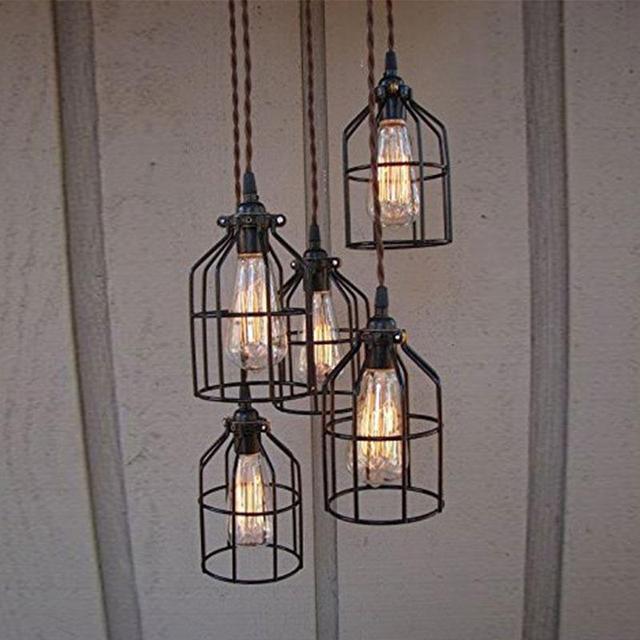 e27 vintage abajur eisen k fig beleuchtung metall h ngeleuchte schutz f r string licht lampe. Black Bedroom Furniture Sets. Home Design Ideas