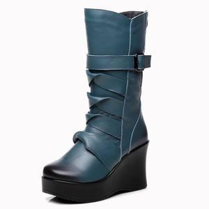 Image 3 - GKTINOO Botas de piel auténtica para mujer, zapatos cálidos de media caña, informales, con cuña, botas de moto para mujer