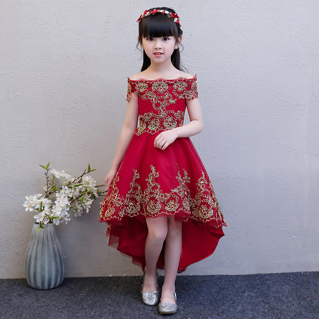 307052bde Shoulderless Flower Girl Dresses for Wedding Wine Red Princess Party Gowns  Short Front Long Back Kids Pageant Dress for Birthday