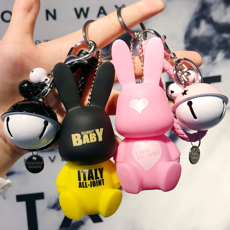 Creative Cute Rogue Rabbit Car Keychain Creative Bell Key Chain Handbag Cartoon Pacifier Rabbit Pendant