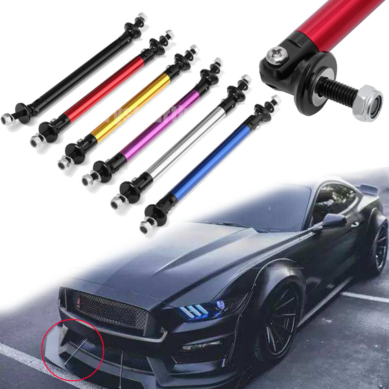 2X Bumper Protector Lip Rod Splitter Strut Tie Bar Support Kit Front Rear Blk A7
