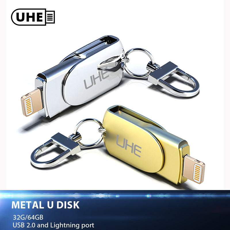 UHE USB Flash Drive 32GB 64GB For iPhone 8 7 Plus Lightning to Sliver and Gold Metal Pen Drive U Disk for MFi iOS10 memory stick ssk sfdi99 8gb usb flash memory drive u disk stick with key ring