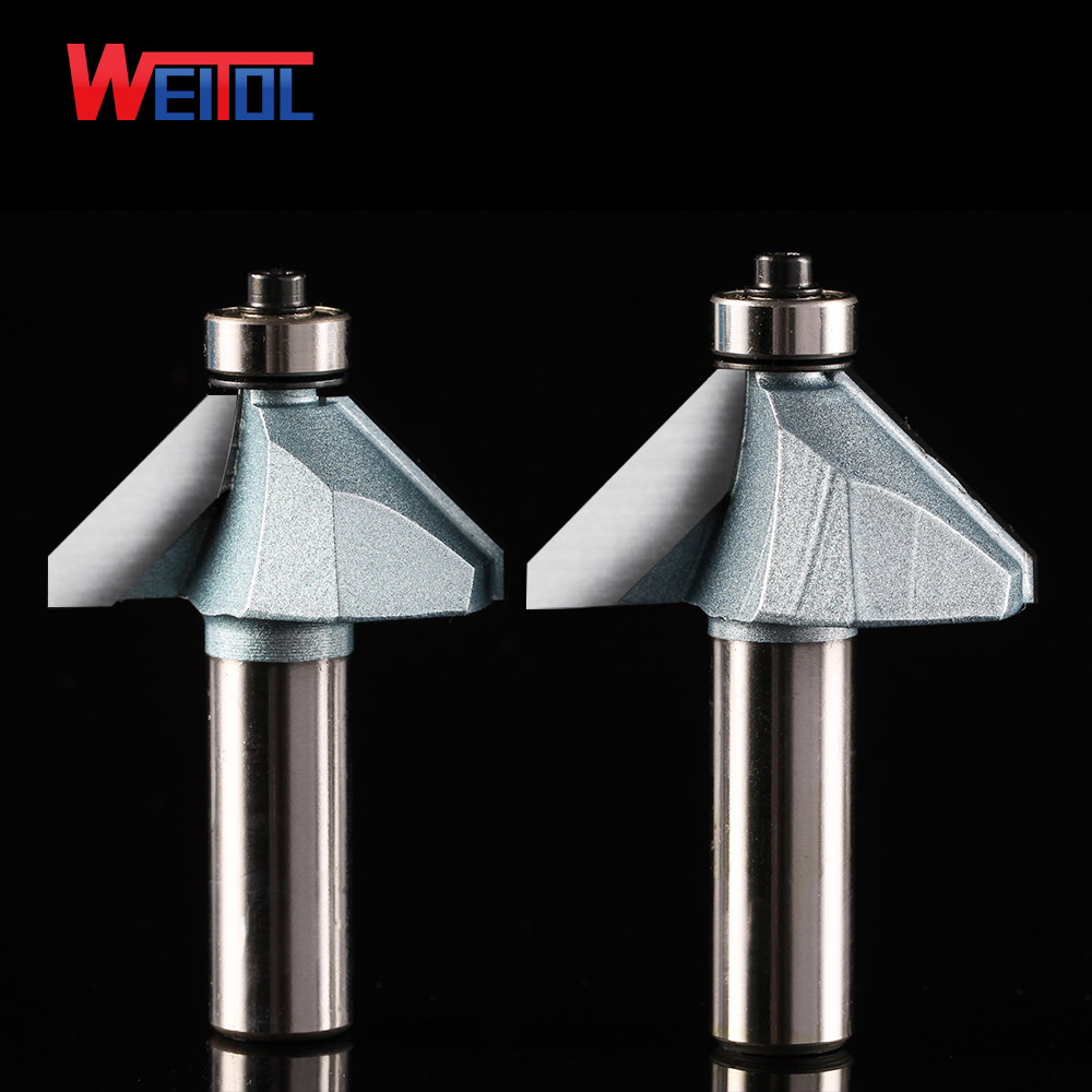Weitol 1pcs 1/4 or 1/2 inch carbide tipped 45 degree chamfer bit with bearing TCT router bit wood carving tools 60mm tungsten carbide tipped stainless