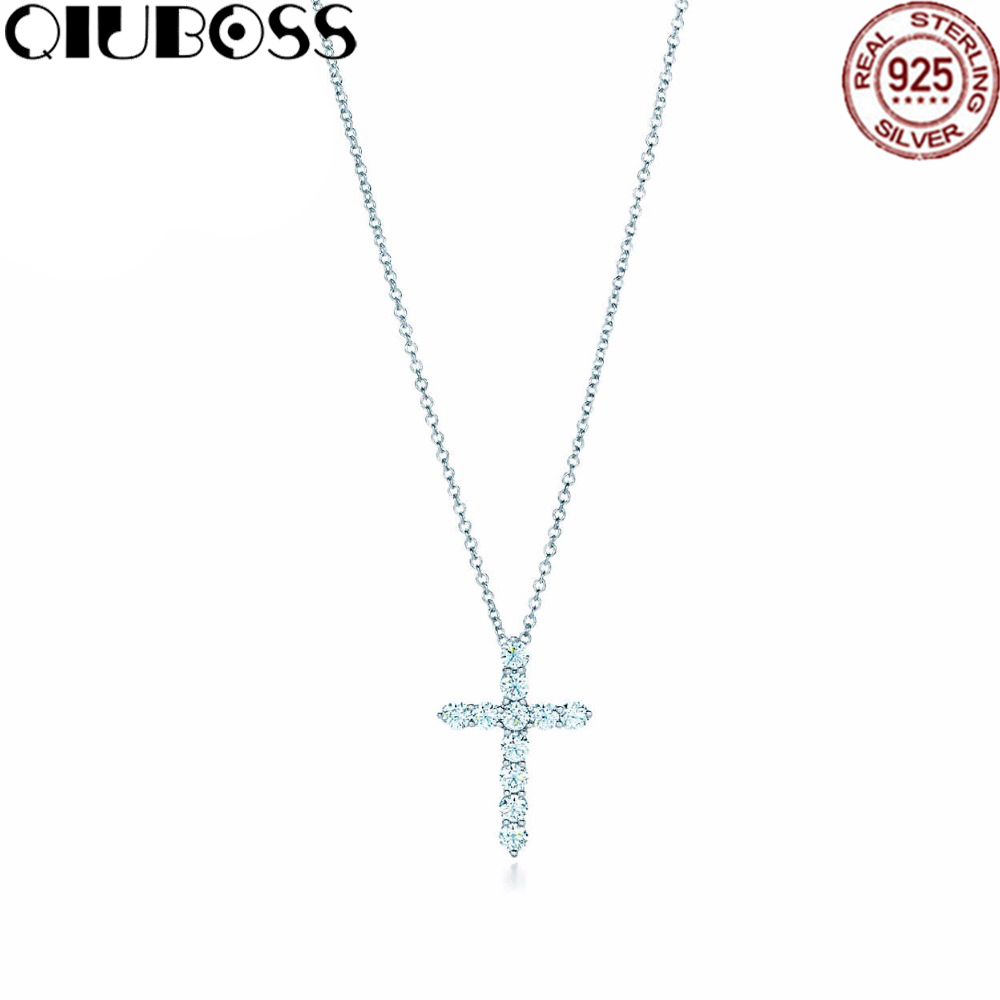 QIUBOSS Fashion And Simplicity Cross Pendant Necklace TIFF 925 Sterling Silver Nature Fashion Jewelry silver cross коляска 3 в1 silver cross pioneer с автокреслом simplicity