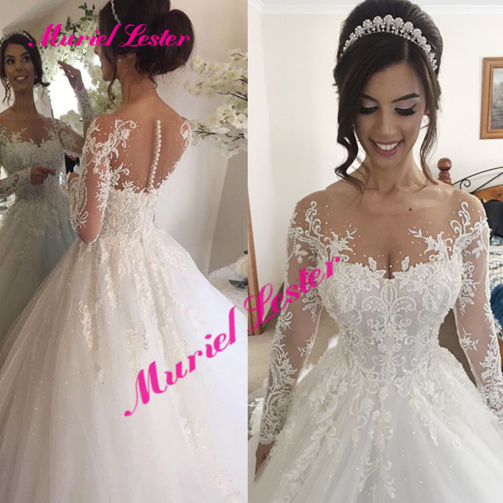 Robe De Mariee Ball Gown Wedding Dresses Crystals Beading Flowers Lace Appliques Plus Size Wedding Dress