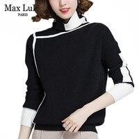 Max LuLu 2019 Fashion Korean Style Jumper Ladies Winter Knitwear Women Striped Turtleneck Pullover Casual Female Knitted Sweater