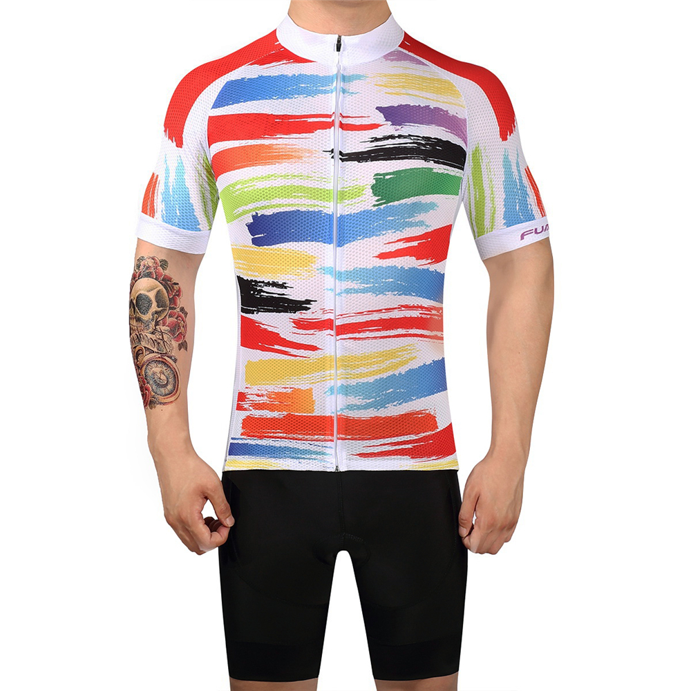 FUALRNY Short Sleeve Cycling Jersey Sets Men Women Summer Bike Clothes Bicycle Clothing Maillot Ropa Ciclismo Set Female