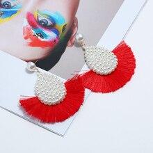 Bohopan Bohemia Style Short Tassels Dangle Earrings Fashion Fan-shaped Drop Water Pearl Pendant For Women