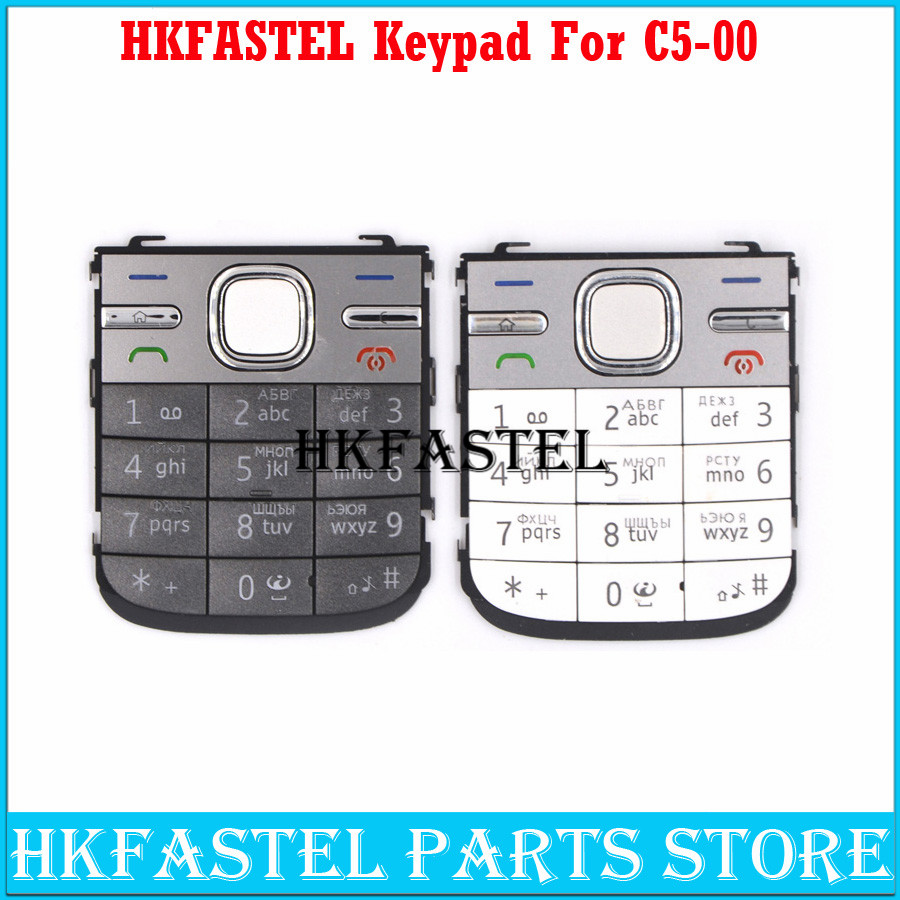 HKFASTEL New High quality For <font><b>Nokia</b></font> <font><b>C5</b></font> <font><b>C5</b></font>-00 Mobile Phone <font><b>Housing</b></font> English or Russian Keypad Cover Keyboard case image
