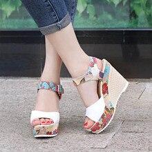 여성 섹시한 하이힐 샌들 여름 웨지 신발 여성 인쇄 플랫폼 샌들 여성 패션 슈퍼 높은 신발 신발