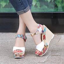 Kobiety Sexy wysokie sandały na obcasie letnie kliny buty kobieta drukuj platforma sandały kobiece moda bardzo wysokie buty obuwie