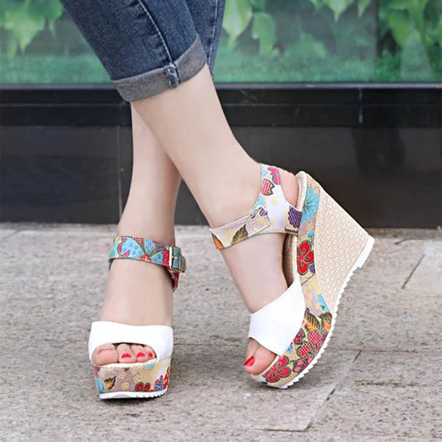 Women Sexy High Heels Sandals 2019 Summer Wedges Shoes Woman Print Platform Sandal Female Fashion Super High Shoes Footwear