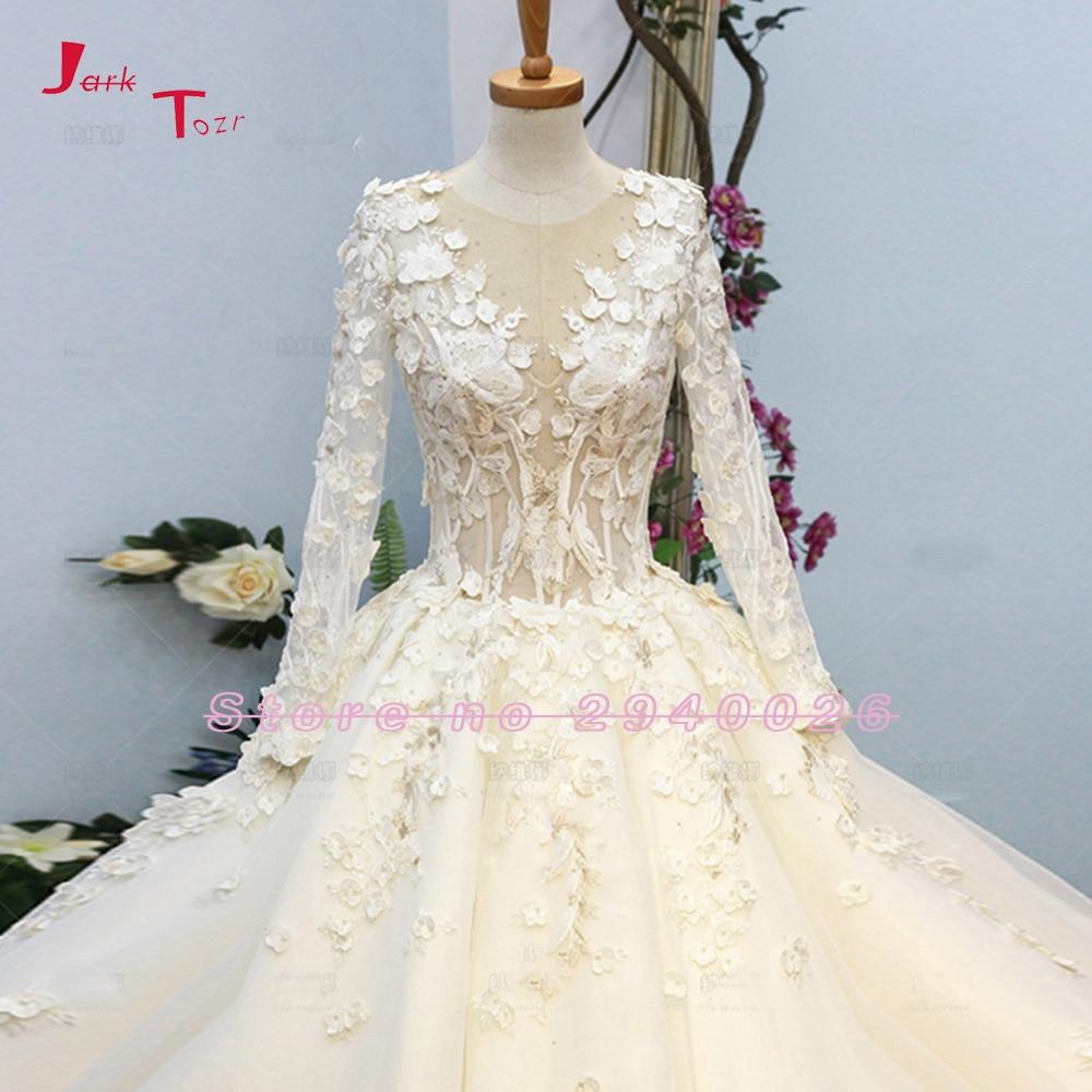 Jark Tozr Robe Princesse Mariage Lace Inside Vintage Ball Gown Wedding Dresses Long Sleeve 2019 Illusion Back Traje De Novia Wedding Dresses