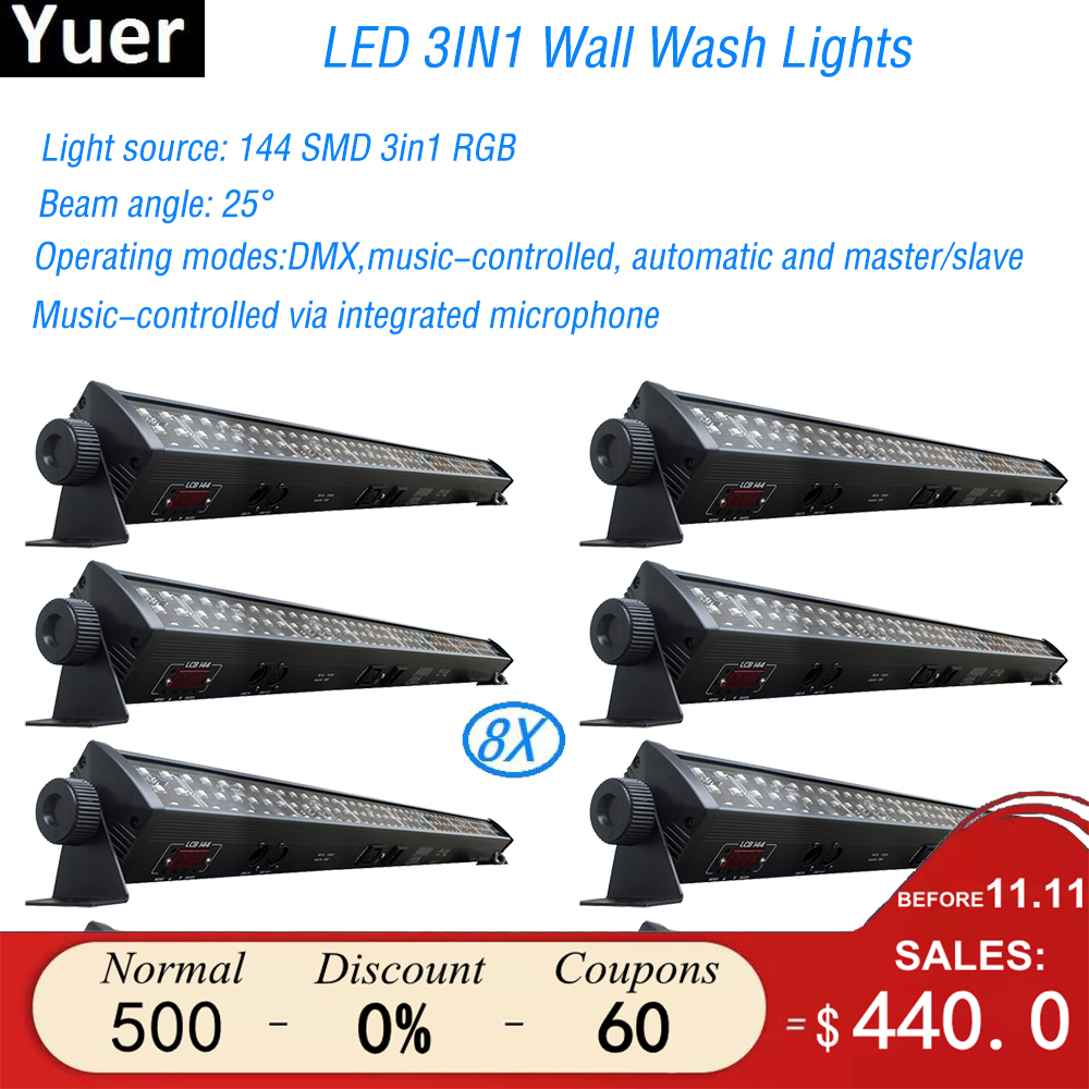 8Pcs/Lot NEW stage light RGB 3IN1 Led Wall Wash Light DMX Led Bar DMX Line Bar Wash Stage Light For Dj Indoor horse race lamp free shipping 2pcs lot good effect rgb 3in1 24 3w led wall washer dmx bar light for stage disco led flood light running horse