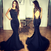 Don S Bridal 2016 Sexy Open Back Mermaid Sweep Train Satin Long Es Black Celebrity Evening