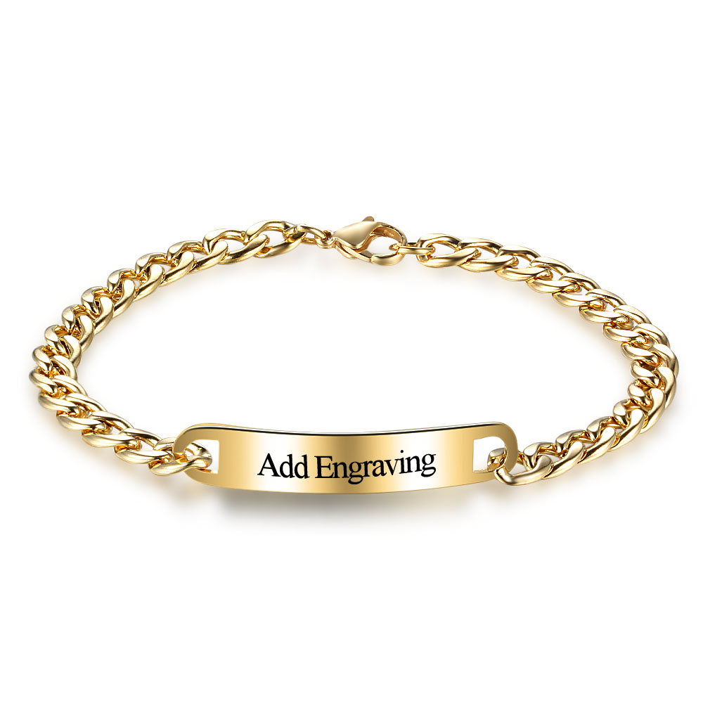 Personalized Bracelets Bangles Gold Color Link Chain Custom Name Diy Charm Jewelry For Men Women Ba101853 In From