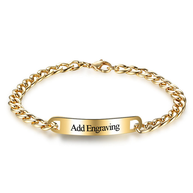 Personalized Bracelets Bangles Gold Color Link Chain Custom Name Diy Charm Jewelry For Men
