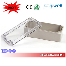 2015 NEW! Most Popular! IP66 Plastic Enclosure for Electronic with Transparent Cover 80*160*55mm High quality DS-AT-0816-S