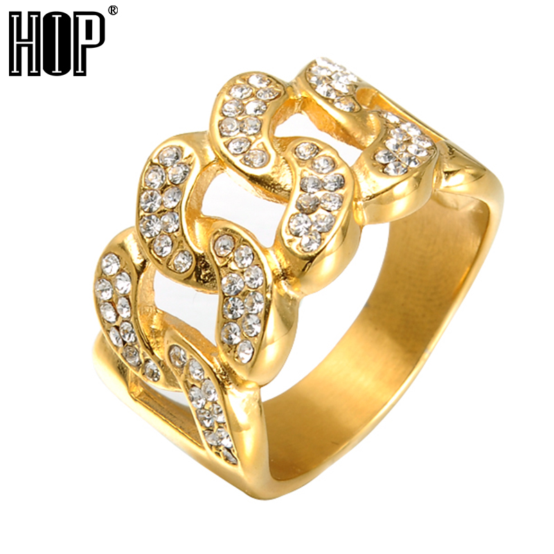 HIP Hop Micro Pave Rhinestone Iced Out Bling Cuban Link Chain Ring IP Gold  Filled Titanium 17586944bd24
