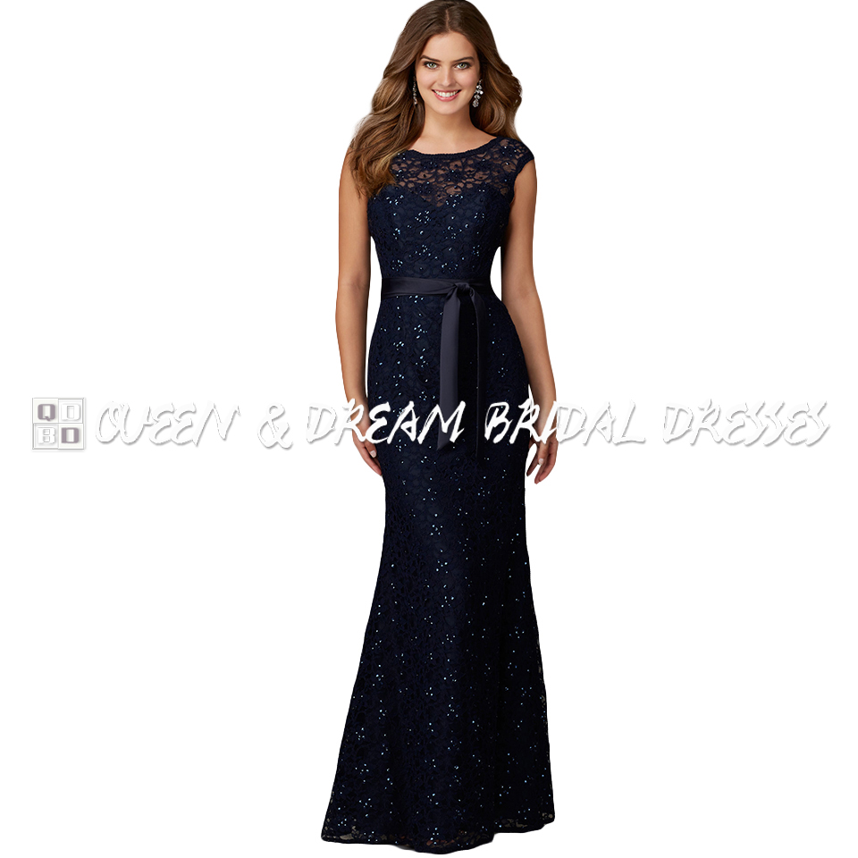 Formal navy blue satin lace sequin mermaid long girls for Navy evening dresses for weddings