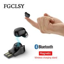 FGCLSY سماعة لاسلكية صغيرة بلوتوث سماعة USB المغناطيسي شحن آيفون X 8 7 سامسونج ستيريو الأعمال سماعة أذن