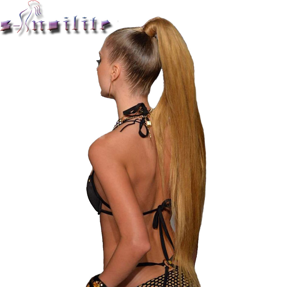 S-noilite 24'' Long Straight Synthetic Ponytail Wrap Around Clip In Ponytail Hair Extensions Heat Resistant Hair Tail