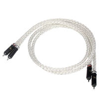 Free Shipping Hi End 8AG Silver Plated OCC 16 Strands Audio Cable With RCA Plug Cable HIFI RCA to RCA Cable