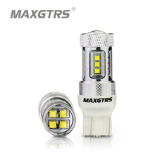 Luces de marcha atrás para coche, luces DRL de alta potencia, 30W, 50W, 80W, Chip CREE T20 7443 W21/5W, bombillas LED de coche, blanco, rojo y ámbar, 2 uds.
