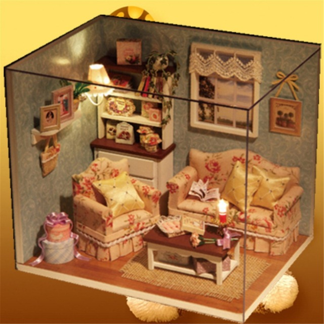 DIY Kids Lighting Wooden Dollhouse Miniature Kit Happy Living Room With Cover Furniture Cute Bedroom Model English Instruction