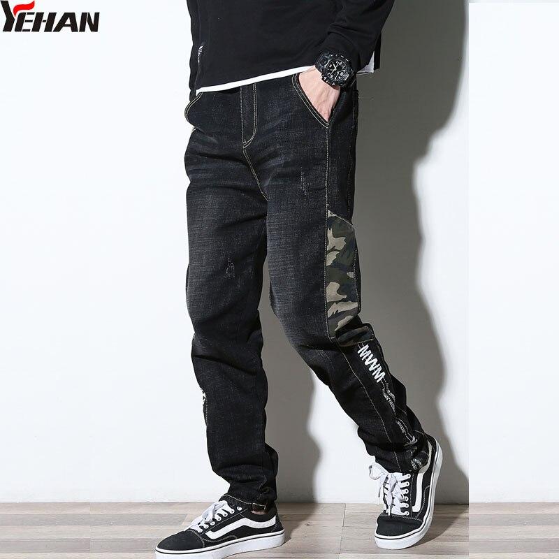 Yehan Harem dżinsy męskie Plus rozmiar rozciągliwe męskie czarne dżinsy kamuflaż dekoracji jeansowe na co dzień biegaczy Casual Loose Tapered Streetwear w Dżinsy od Odzież męska na  Grupa 1
