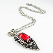 WANJIESHIPin New jewelry Shadowhunters Necklace Red Glass AMOR Pendant   Valentine gift