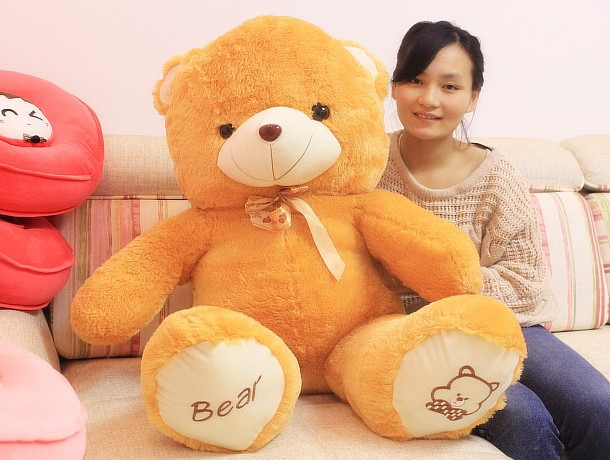 The lovely bow bear doll teddy bear hug bear plush toy doll birthday gift light brown bear about 120cm large 120cm teddy bear plush toy hug love heart plush bear doll soft throw pillow christmas birthday gift x046