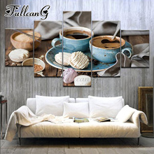 FULLCANG full square/round drill 5d diy diamond painting biscuit & black coffee 5 panel mazayka embroidery art kit decor FC886