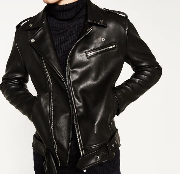 2016 Autumn Winter Man Black Faux Leather Biker Jackets Open lapels Zippers pockets Hem belted Epaulet