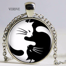 VERDVE New Vintage Two Cat Necklace Glass Pendant Yin Yang Corollary Long Necklace Statement Necklace for Women Fashion Men(China)