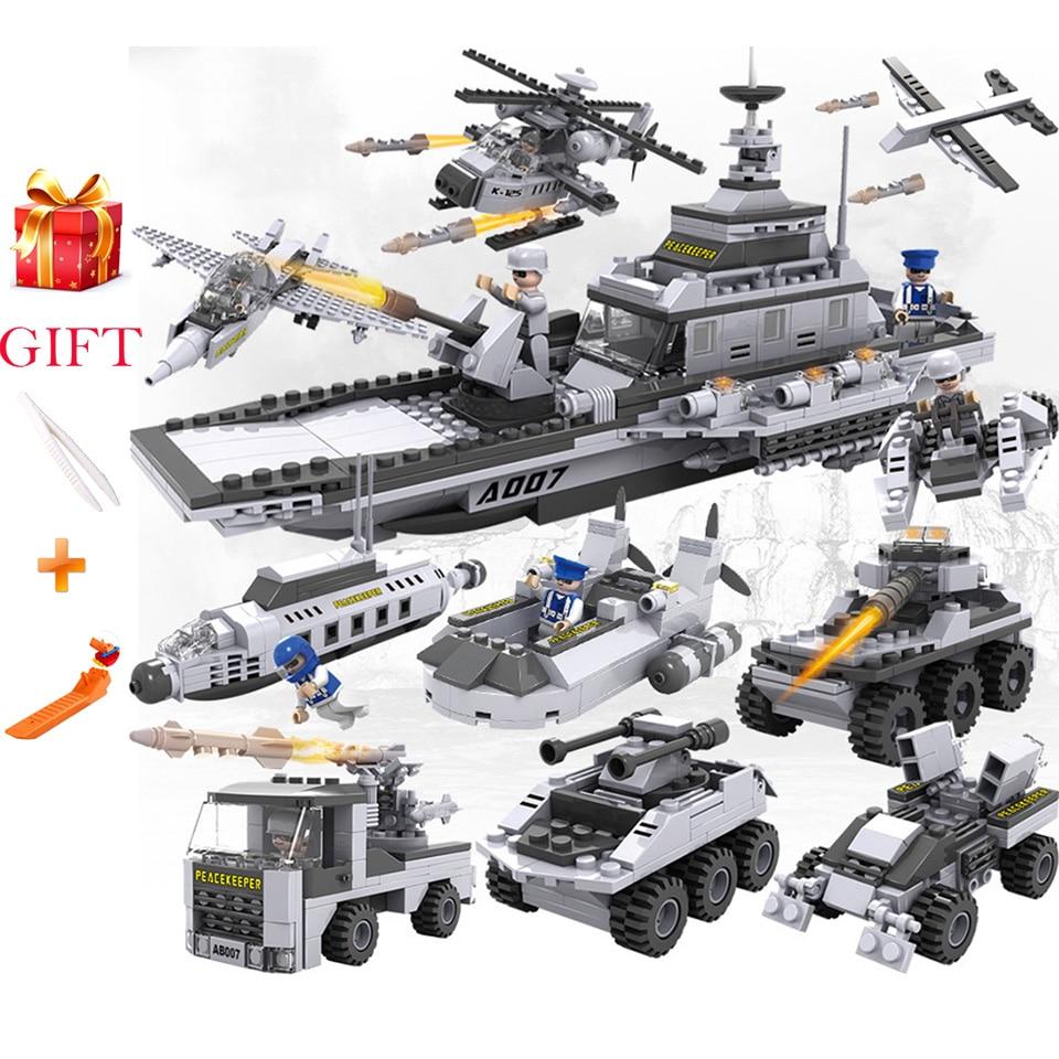 Blocs de construction LegoINgs 8 en 1 avions militaires modèle de transporteur combinaison navire de guerre jouet militaire jouet éducatif pour enfants