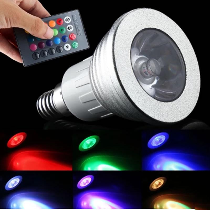 3W  E14 Remote control RGB LED Spot Light  RGB lamp led dimmable light spot bulb bombilla lampara  lampe ampoule 110V 220V