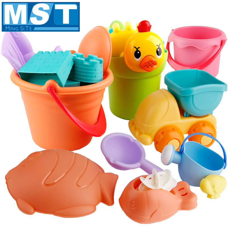 19PCS Summer Beach Sand Toys Soft Rubber Beach Game Bucket Playset With Gift Mesh Bag For Kids Outdoor Fun Watertafel Sand Molds