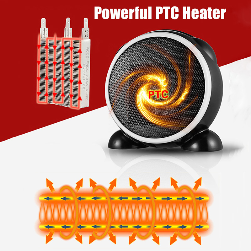 Mini Electric Table Fan Heater Fast PTC Air Warmer Portable Small ptc Ceramic Fan Space Heater Electric Warm Air Blower Gift in Electric Heaters from Home Appliances