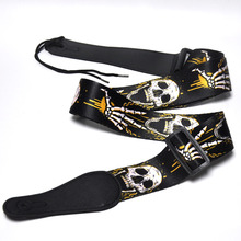 133cm Long 5cm Wide Skull Palm Guitar Bass Strap Polyester w/ Leather Head Adjustable