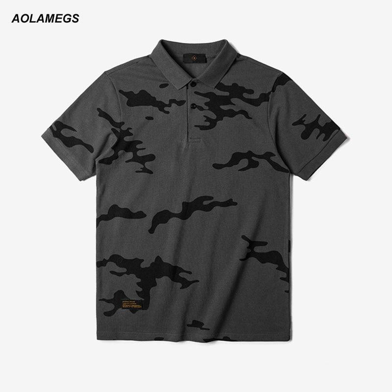 Aolamegs font b Polo b font Shirt font b Men b font Camouflage Shirt Fashion Casual