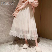 TIGENA Fashion Lace Tulle Long Maxi Skirt Women 2019 Spring Summer Korean High Waist Pleated Polka Dot Skirt Female Pink Blue
